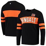 Men's Hands High Black Cincinnati Bengals Game On Sueded Slub Long Sleeve T-Shirt