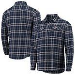 Men's Antigua Navy/Gray Boston Red Sox Flannel Button-Down Shirt
