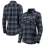 Women's Antigua Navy/Gray Chicago Bears Stance Flannel Button-Up Long Sleeve Shirt