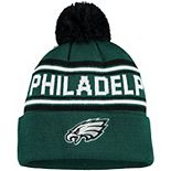 Youth Midnight Green Philadelphia Eagles Jacquard Cuffed Knit Hat with Pom