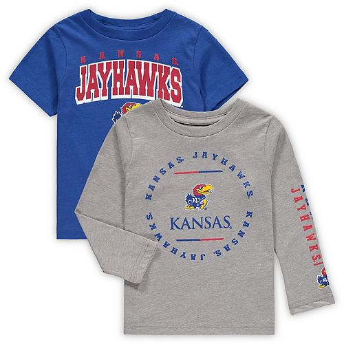 Toddler Royal/Heathered Gray Kansas Jayhawks Club Short Sleeve and Long Sleeve T-Shirt Combo Set