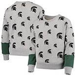 Girls Youth Heathered Gray Michigan State Spartans Triumph All-Over Logo Pullover Sweatshirt