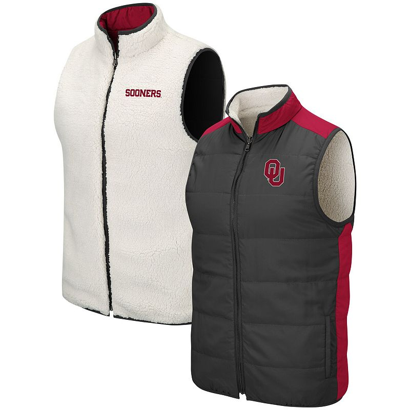 Men's Colosseum Charcoal/White Oklahoma Sooners Blinky Reversible Full-Zip Vest, Size: Small, Grey