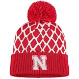 Men's adidas Scarlet Nebraska Cornhuskers Logo Front Cuffed Knit Hat with Pom