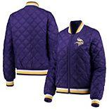 Women's G-III 4Her by Carl Banks Purple Minnesota Vikings Goal Line Quilted Bomber Full-Zip Jacket