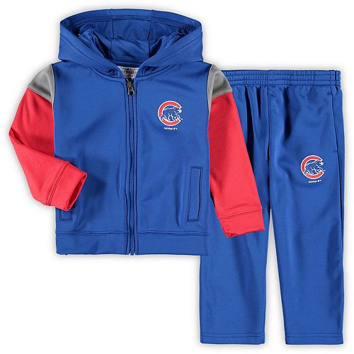 Toddler Royal Chicago Cubs Blocker Performance Fleece Full-Zip Hoodie & Pants Set