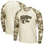 Men's Colosseum Oatmeal Kansas State Wildcats OHT Military Appreciation Desert Camo Raglan Long Sleeve T-Shirt