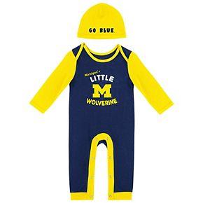 Newborn & Infant Colosseum Navy Michigan Wolverines Bodysuit and Beanie Set