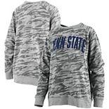 Women's Pressbox Camo Penn State Nittany Lions Gulfport French Terry Raglan Pullover Sweatshirt