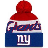 Youth New Era White/Royal New York Giants Script Cuffed Knit Hat with Pom