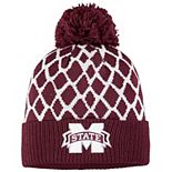 Men's adidas Maroon Mississippi State Bulldogs Logo Front Cuffed Knit Hat with Pom