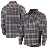 Men's Antigua Gray Cleveland Browns Stance Flannel Button-Up Long Sleeve Shirt