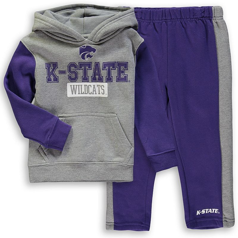 Toddler Colosseum Heathered Gray/Purple Kansas State Wildcats Back To School Fleece Hoodie And Pant Set, Toddler Unisex, Size: 2T, Grey