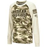 Youth Colosseum Oatmeal LSU Tigers OHT Military Appreciation Desert Camo Raglan Long Sleeve T-Shirt