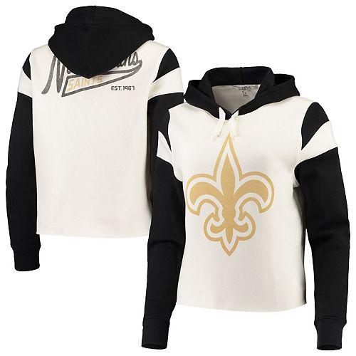Women S Junk Food White New Orleans Saints Cropped Fleece Pullover Hoodie