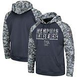 Men's Colosseum Charcoal/Camo Memphis Tigers OHT Military Appreciation Digi Camo Raglan Pullover Hoodie