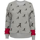 Girls Youth Heathered Gray Alabama Crimson Tide Triumph All-Over Logo Pullover Sweatshirt