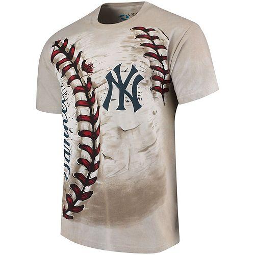 Men's Cream New York Yankees Hardball Tie-Dye T-Shirt