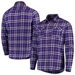 Men's Antigua Purple/Gray Minnesota Vikings Stance Flannel Button-Up Long Sleeve Shirt