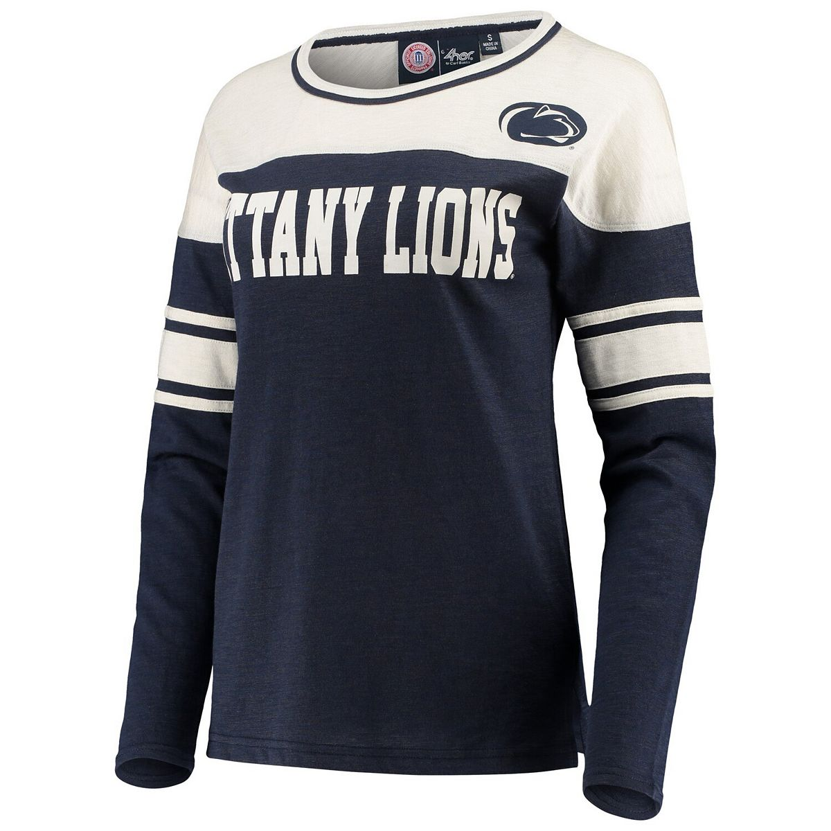 Women's G-III 4Her by Carl Banks Navy/White Penn State Nittany Lions Interception Sleeve Stripe Long Sleeve T-Shirt fvE8i