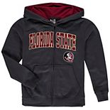 Youth Charcoal Florida State Seminoles Applique Arch & Logo Full-Zip Hoodie