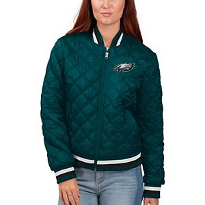 Women's G-III 4Her by Carl Banks Midnight Green Philadelphia Eagles Goal Line Quilted Bomber Full-Zip Jacket