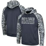 Men's Colosseum Charcoal/Camo North Dakota OHT Military Appreciation Digi Camo Raglan Pullover Hoodie
