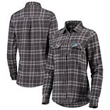 Women's Antigua Gray Detroit Lions Stance Flannel Button-Up Long Sleeve Shirt