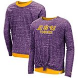 Girls Youth Colosseum Purple LSU Tigers Brain Double Layer Front Tie Long Sleeve T-Shirt
