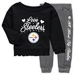 Girls Toddler Black/Charcoal Pittsburgh Steelers Touchdown Love Long Sleeve T-Shirt & Pant Set