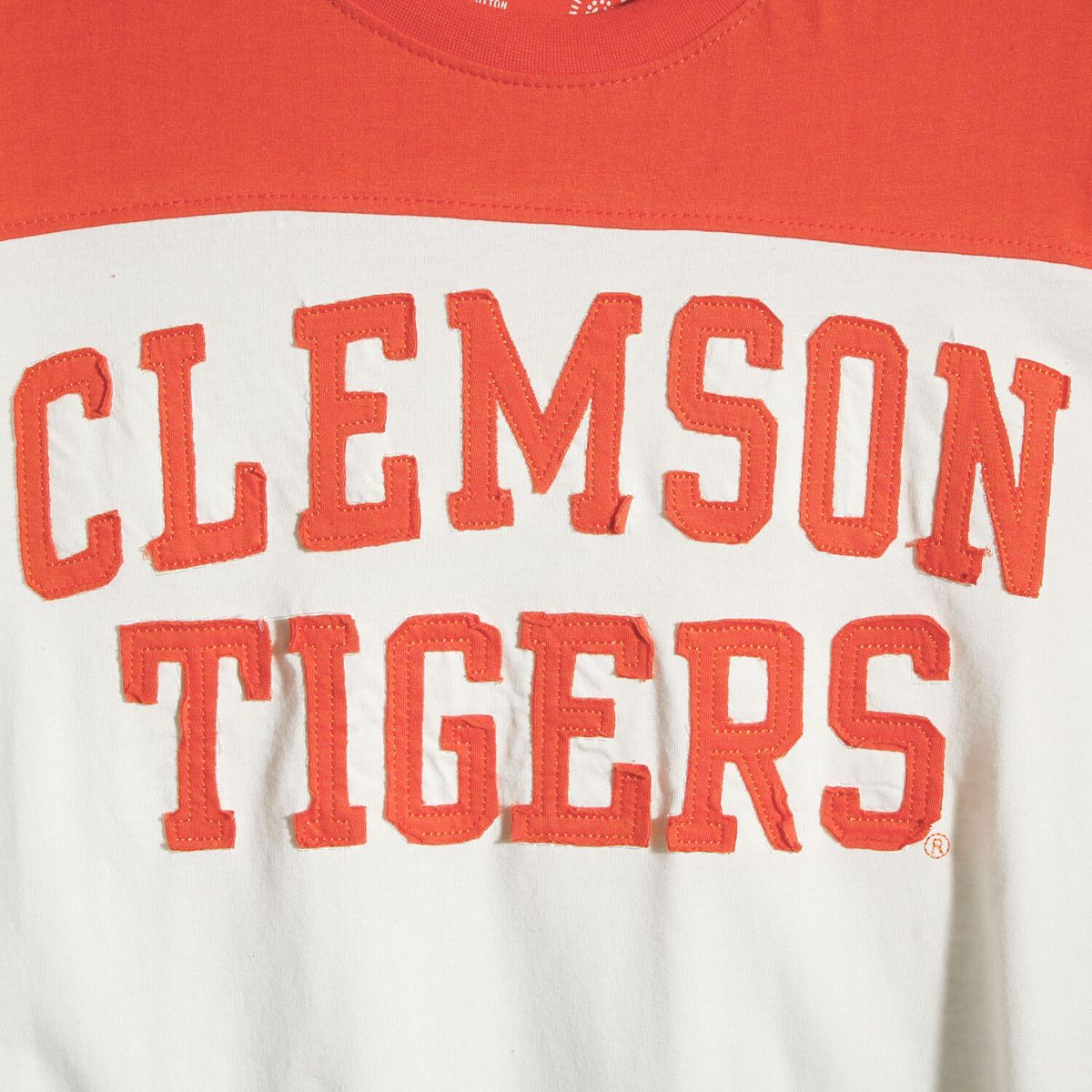 Women's Pressbox White/Orange Clemson Tigers Half Back Applique Long Sleeve Jersey T-Shirt sZs5o