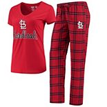 Women's Concepts Sport Red/Navy St. Louis Cardinals Troupe V-Neck T-Shirt & Pants Sleep Set