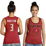 Women's Majestic Jameis Winston Red Tampa Bay Buccaneers Tri-Blend Wordmark Name & Number Tank Top