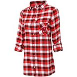 Women's Concepts Sport Red/Black Wisconsin Badgers Plus Size Piedmont Flannel Long Sleeve Button-Up Nightshirt