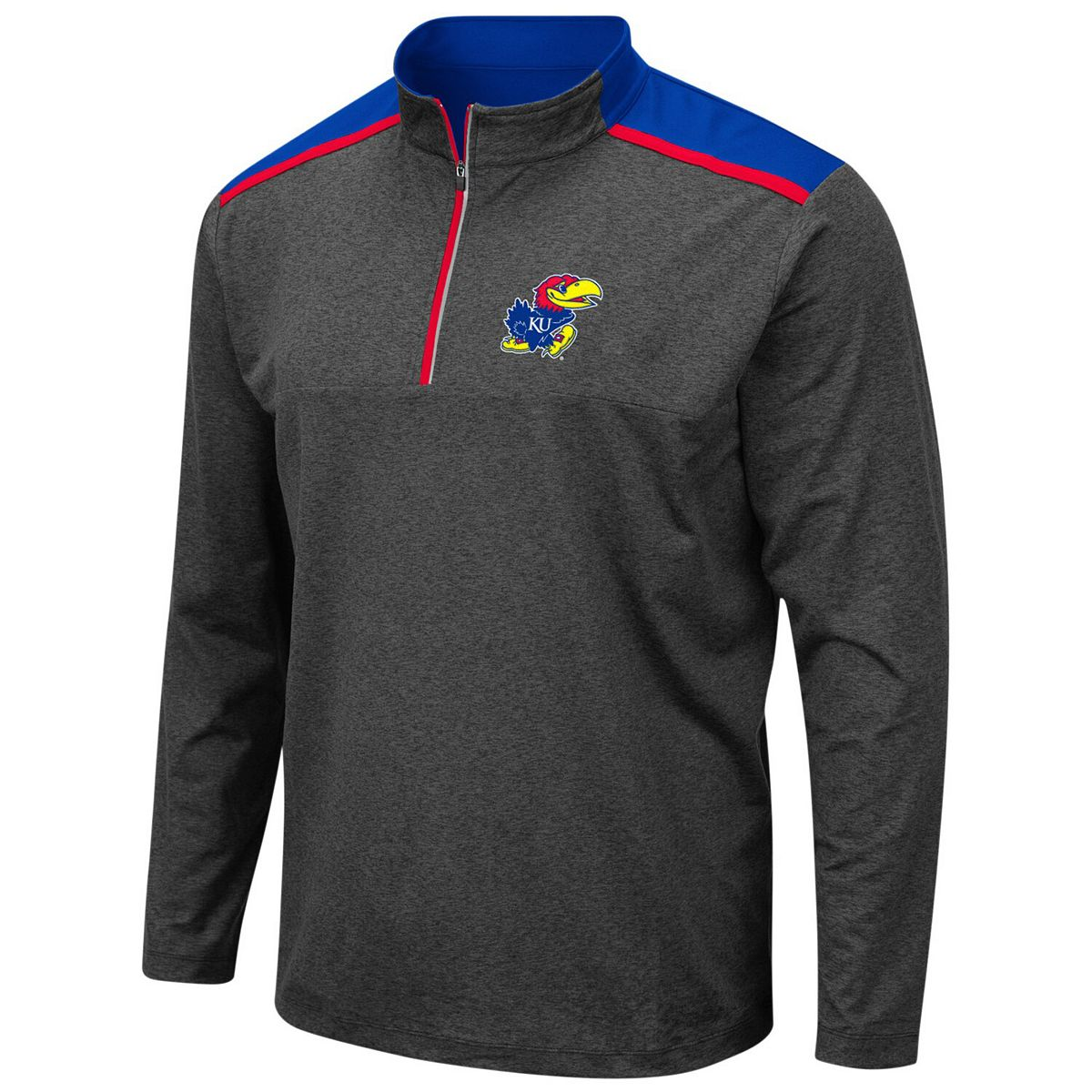 Men's Colosseum Heathered Charcoal Kansas Jayhawks Snowball Windshirt Quarter-Zip Pullover Jacket 6rFsr