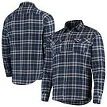 Men's Antigua Navy/Gray New England Patriots Stance Flannel Button-Up Long Sleeve Shirt
