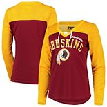 Women's G-III 4Her by Carl Banks Gold/Burgundy Washington Redskins Laces Out Long Sleeve V-Neck T-Shirt