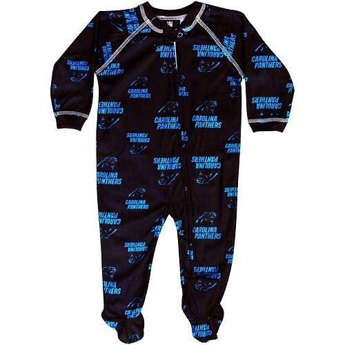 Carolina Panthers Newborn Piped Raglan Full Zip Coverall - Black