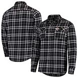 Men's Antigua Black/Gray Kansas City Chiefs Stance Flannel Button-Up Long Sleeve Shirt