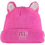 Girls Toddler New Era Pink New York Giants Cozy Cutie Cuffed Knit Hat