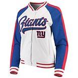 Women's New Era White/Royal New York Giants Varsity Full Snap Jacket
