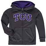 Youth Charcoal TCU Horned Frogs Applique Arch & Logo Full-Zip Hoodie