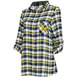 Women's Concepts Sport Navy/Maize Michigan Wolverines Piedmont Flannel Long Sleeve Button-Up Nightshirt
