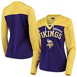 Women's G-III 4Her by Carl Banks Gold/Purple Minnesota Vikings Laces Out Long Sleeve V-Neck T-Shirt