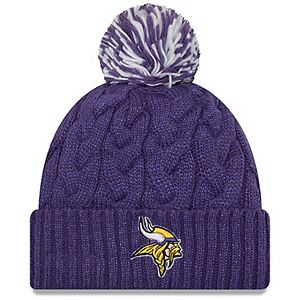 Girls Youth New Era Purple Minnesota Vikings Cozy Cable Cuffed Knit Hat with Pom