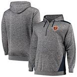 Men's Profile Heathered Charcoal/Navy Chicago Bears Big & Tall Quarter-Zip Fleece Hoodie