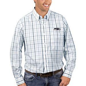 Men's Antigua White/College Navy Seattle Seahawks Keen Long Sleeve Button-Down Shirt