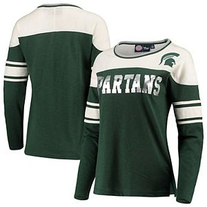 Women's G-III 4Her by Carl Banks Green/White Michigan State Spartans Interception Sleeve Stripe Long Sleeve T-Shirt