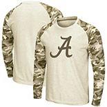 Men's Colosseum Oatmeal Alabama Crimson Tide OHT Military Appreciation Desert Camo Raglan Long Sleeve T-Shirt