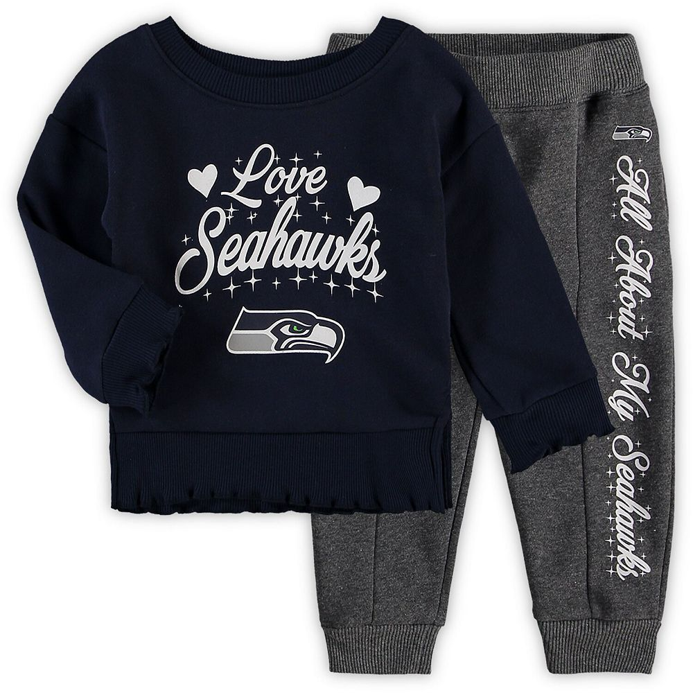 Girls Toddler College Navy/Charcoal Seattle Seahawks Touchdown Love Long Sleeve T-Shirt & Pant Set